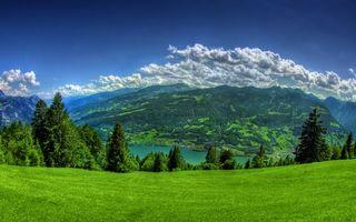 Бесплатные фото лето,горы,трава,деревья,зелень,река,небо