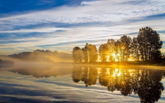 Заставки берег реки, деревья, восход