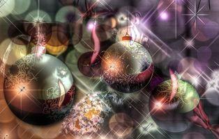 Фото бесплатно новый год, новогодние обои, игрушки, шары, украшения