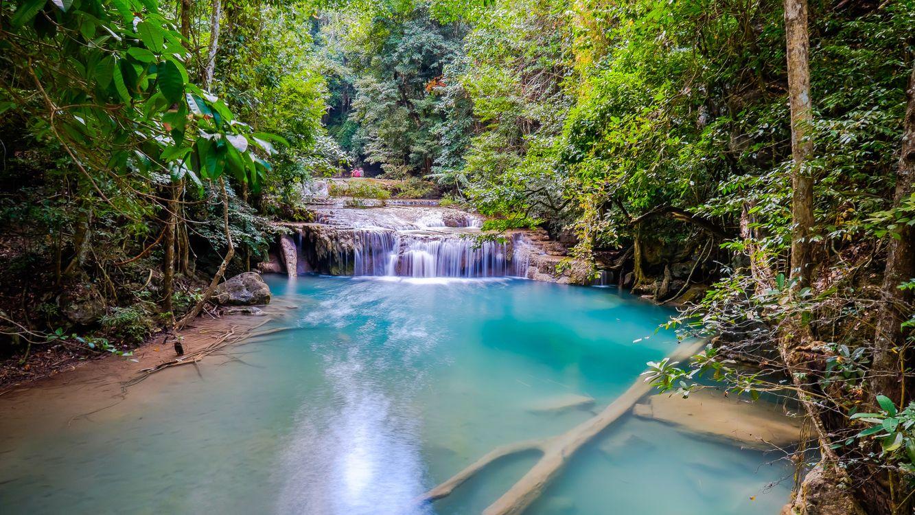 Фото бесплатно Erawan, красивый водопад, Национальный парк Канчанабури, Таиланд, пейзажи
