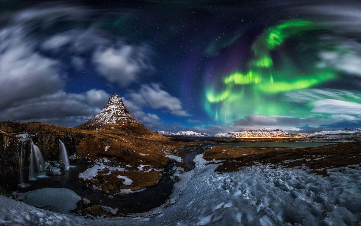 Фото бесплатно горы, снег, северное сияние, небо, вода, природа