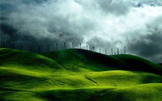 Бесплатные фото холмы,сопки,трава,зеленая,ветряки,небо,облака