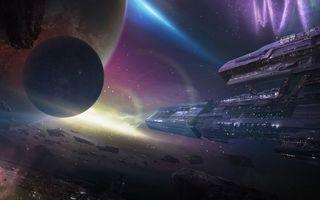 Бесплатные фото космос, планеты, метеориты, космический корабль, полет, свечение