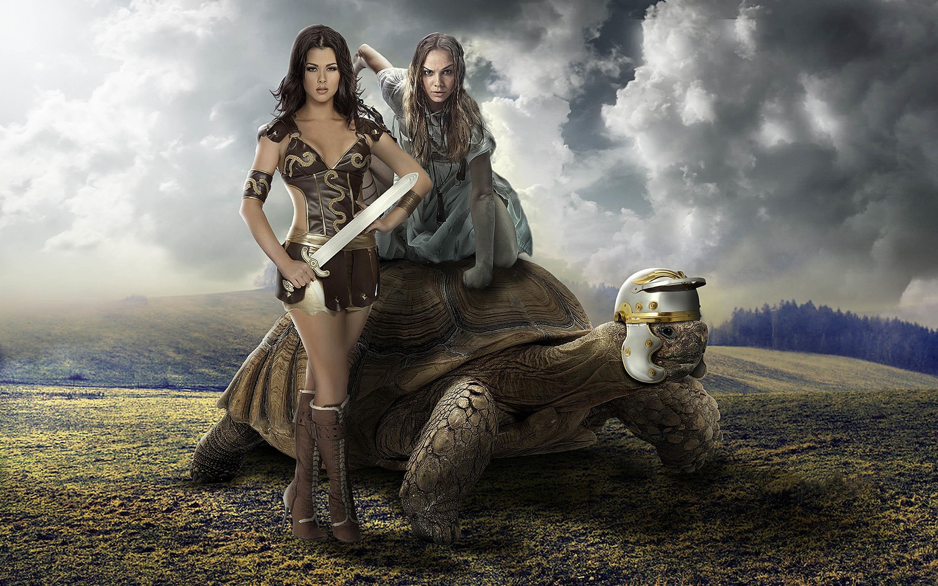 Обои девушки, девушка воин, черепаха