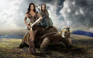 Заставки девушки, девушка воин, черепаха