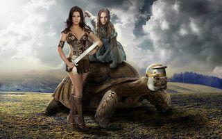 Бесплатные фото девушки,девушка воин,черепаха