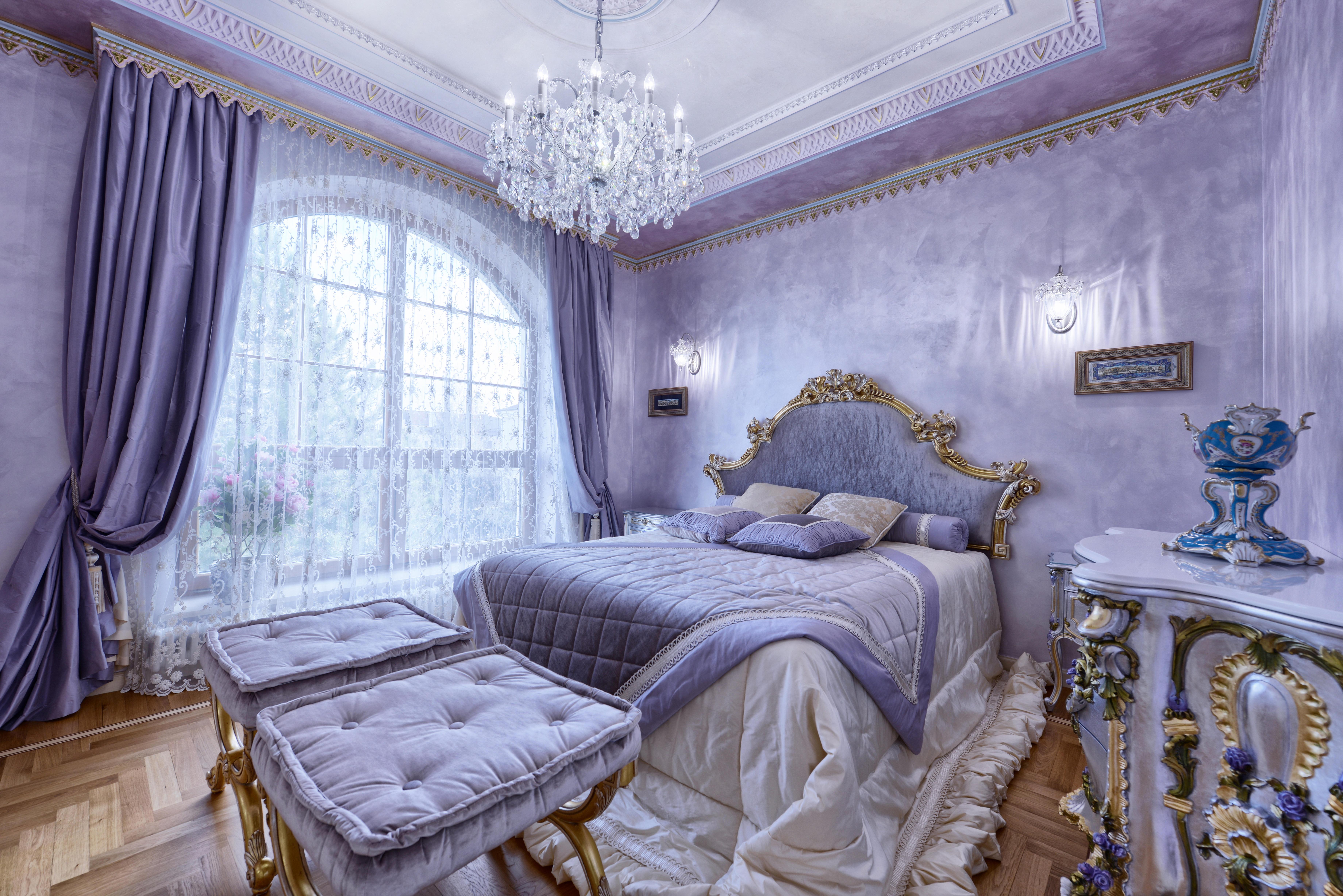 Обои интерьер, спальня, кровать, окно