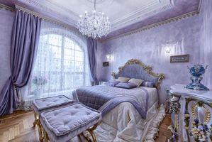 Бесплатные фото интерьер,спальня,кровать,окно,люстра,шторы