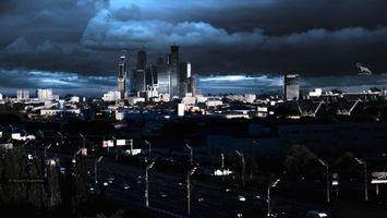 Фото бесплатно ART IRBIS PRODUCTION, Москва, небоскребы, мегаполись, тучи, пейзаж, туман, снег, Khusen Rustamov, Хусен Рустамов, фотограф, xusenru, Природа, Россия, Город, мрак