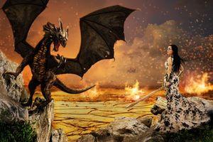 Бесплатные фото девушка,дракон,сюрреализм,фантасмагория,3d,art