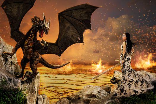 девушка, дракон, сюрреализм, фантасмагория, 3d