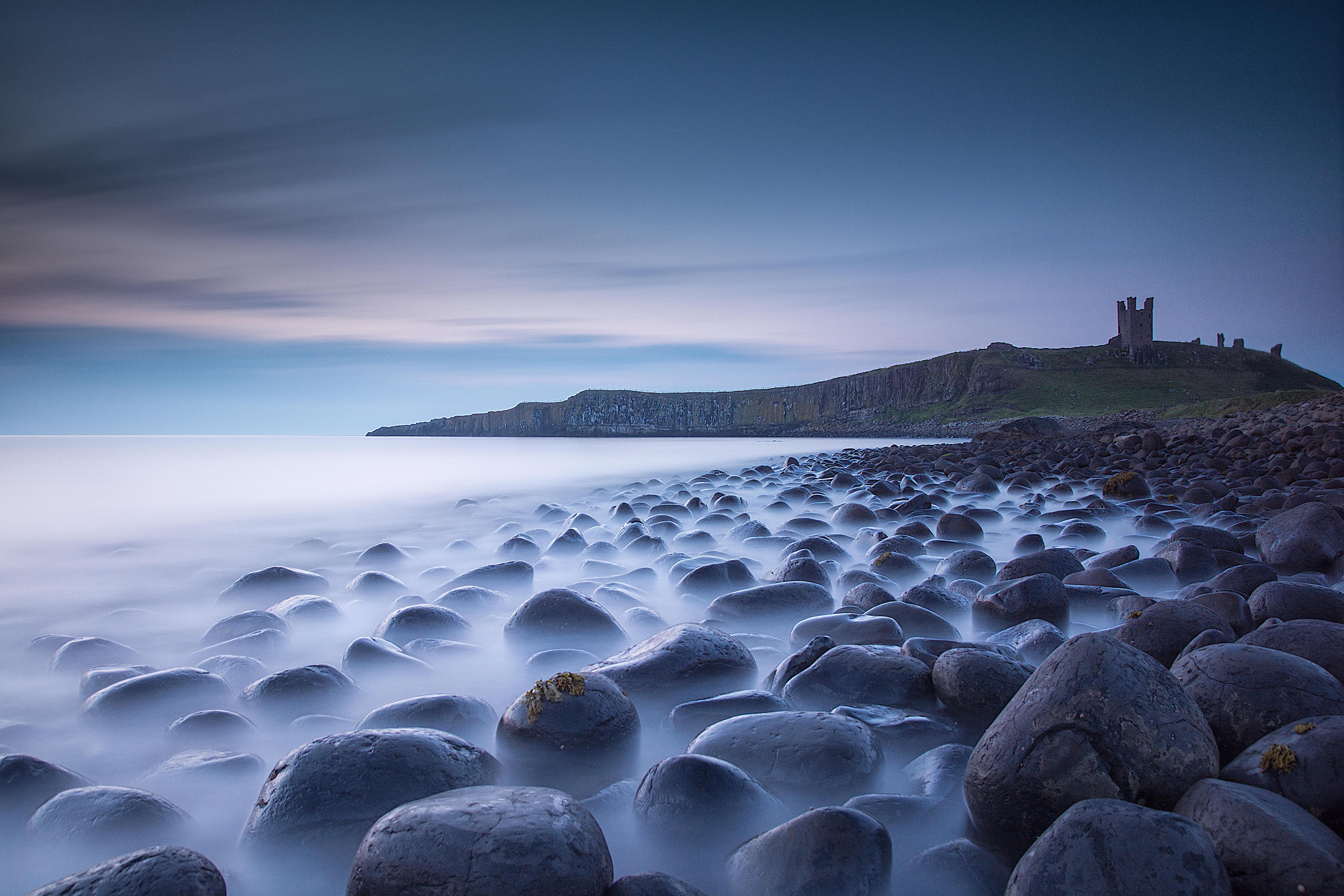 Обои Данстенбург замок, Нортумберленд, Великобритания, море