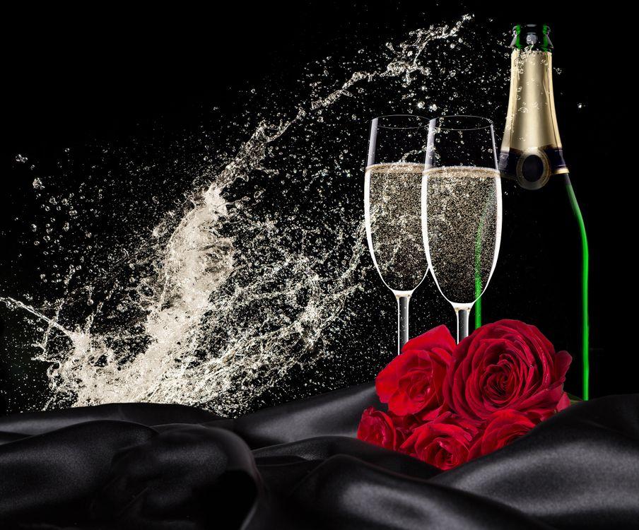 Фото бесплатно день святого валентина, день влюбленных, с днём святого валентина, с днём всех влюблённых, Валентинка, Валентинки, романтика, вино, бокалы, розы, праздники