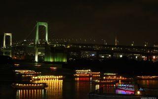 Бесплатные фото ночь, река, судна, трамвайчики, фонари, огни, мост