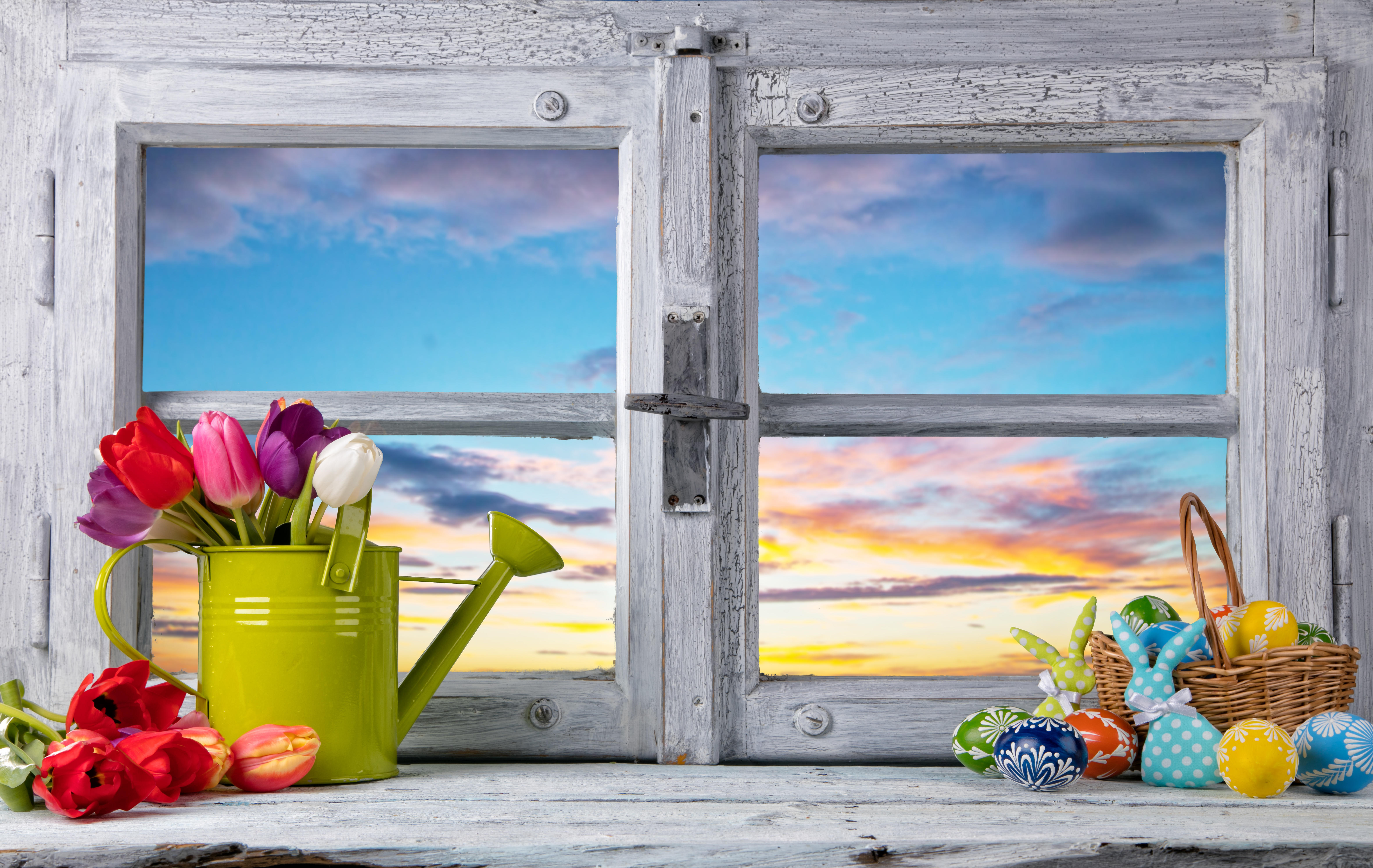 Обои весна, окно, рама, пасха