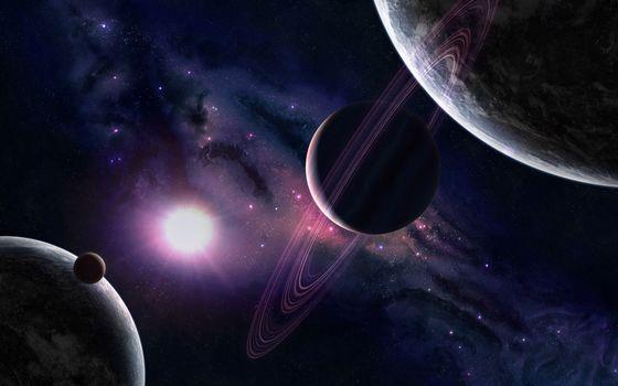 Фото бесплатно планеты, кольца, солнце