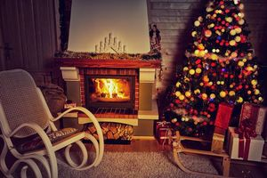 Фото бесплатно Рождество, фон, дизайн, элементы, ёлка, новогодние обои, новый год, интерьер, гирлянды, иллюминация, камин