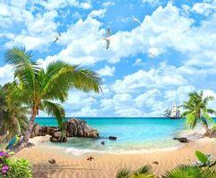 Фото бесплатно корабль, пальмы, попугай