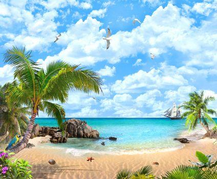 Бесплатные фото море,корабль,парусник,пляж,песок,пальмы,попугай,чайки,рай,пейзаж