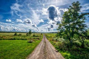 Бесплатные фото поле,деревья,дорога,облака,небо,пейзаж
