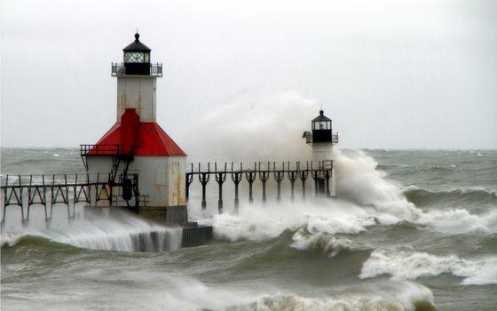 Фото бесплатно маяк, океан, волны