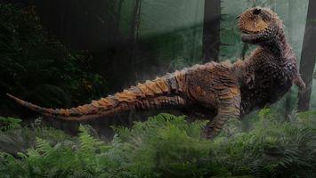 Бесплатные фото динозавр, хищник, морда, лапы, хвост, лес
