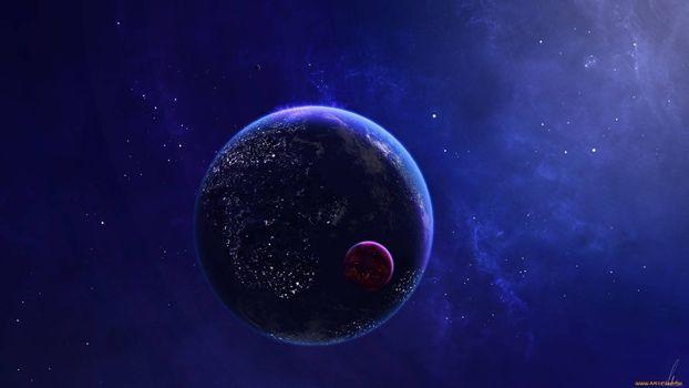 Фото бесплатно планета Земля, Луна, космос