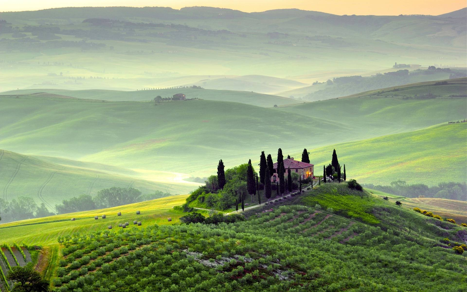 обои Тоскана, Италия, дом, холмы картинки фото