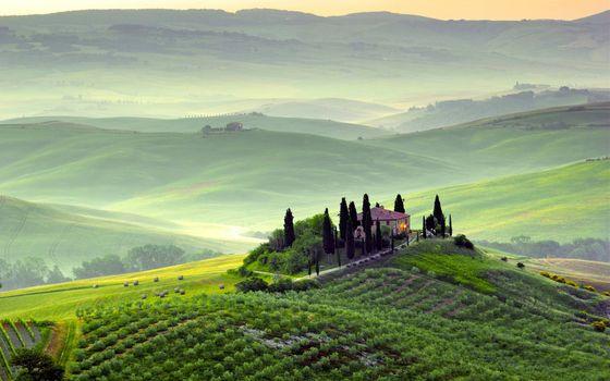 Фото бесплатно Тоскана, Италия, дом, холмы, плантации