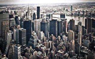 Заставки дома, небоскребы, здания, крыши, улицы, река