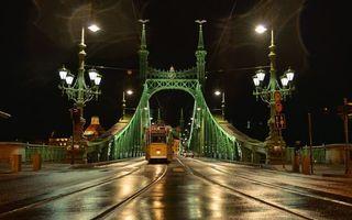 Бесплатные фото ночь,дорога,рельсы,трамвай,мост,конструкция,фонари