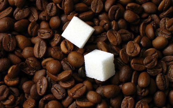 Фото бесплатно кофе, зерна, сахар