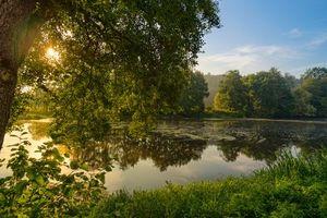 Фото бесплатно закат, водоём, пруд