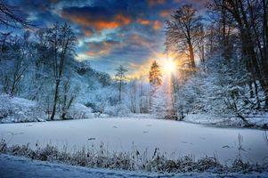 Фото бесплатно зима, снег, озеро