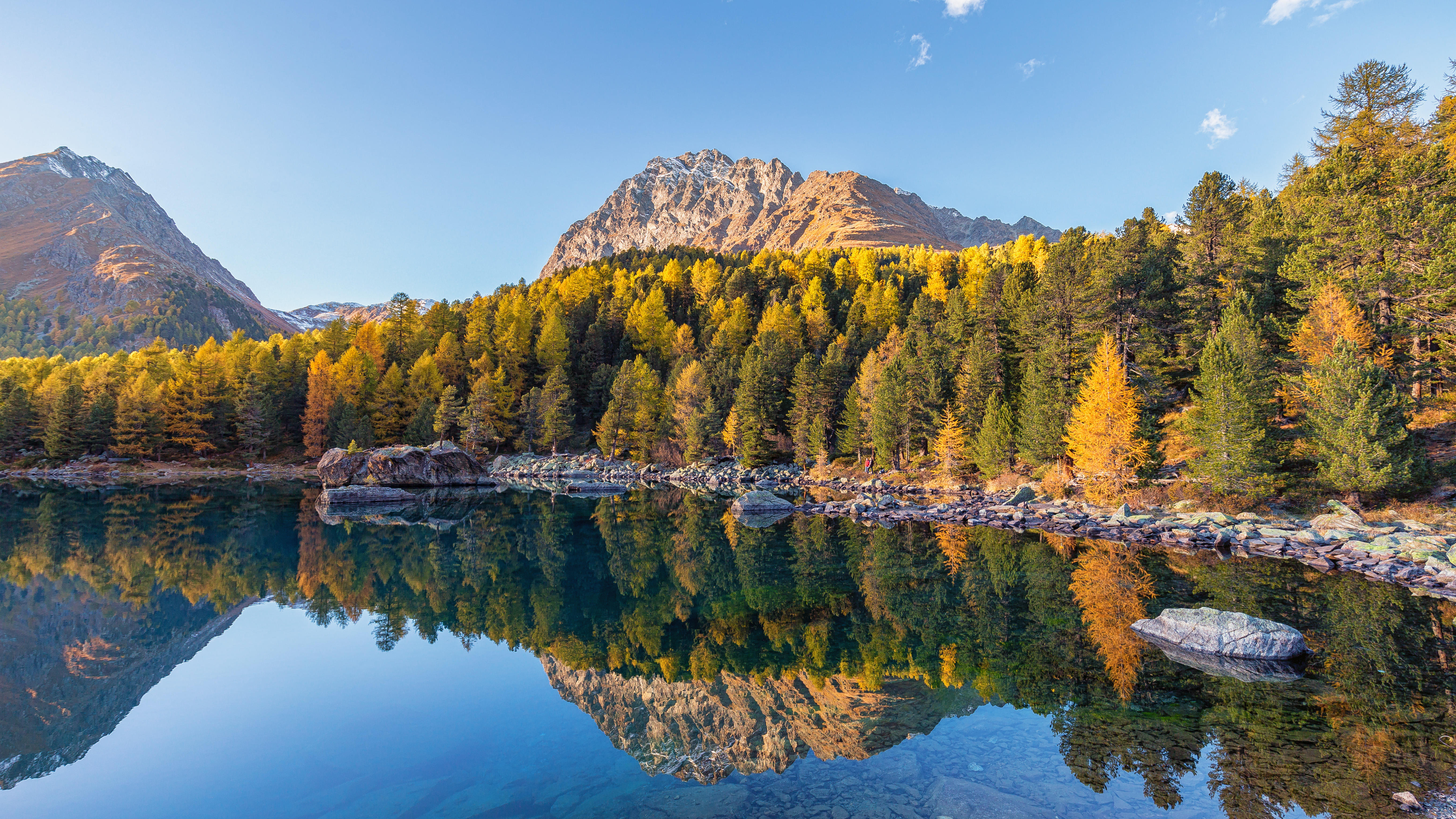 обои Озеро, Граубюнден, Швейцария, осень картинки фото