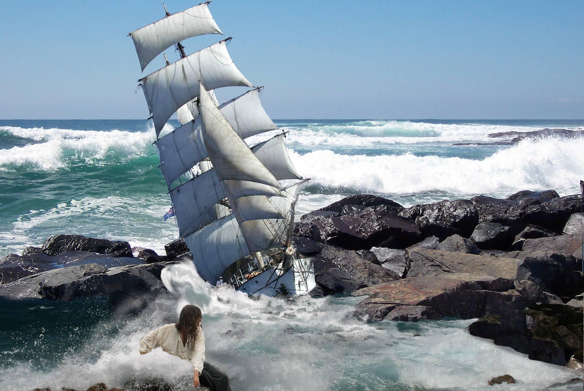 Обои море, шторм, корабль, скалы