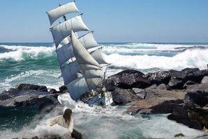 Бесплатные фото море,шторм,корабль,скалы