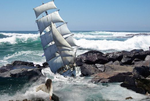 Фото бесплатно море, шторм, корабль