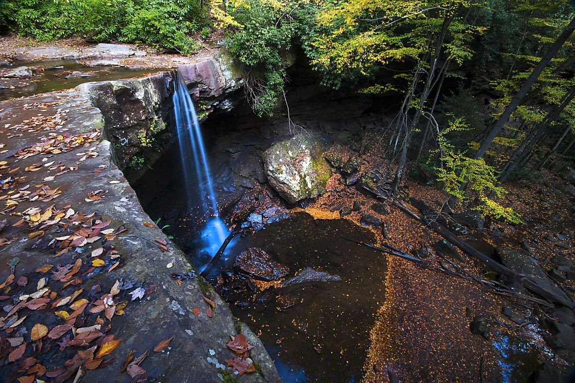 Фото бесплатно Ohio Pyle State Park, осень, лес, скалы, водопад, деревья, пейзаж, пейзажи