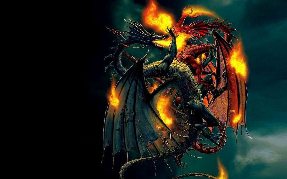Фото бесплатно драконы, драка, крылья, лапы, хвосты, морды, пламя, огонь, фантастика - скачать на рабочий стол