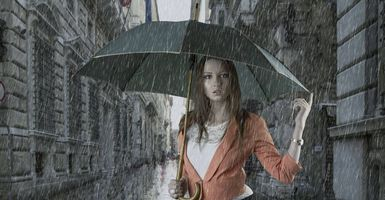 Photo free girl in the rain, rain, umbrella