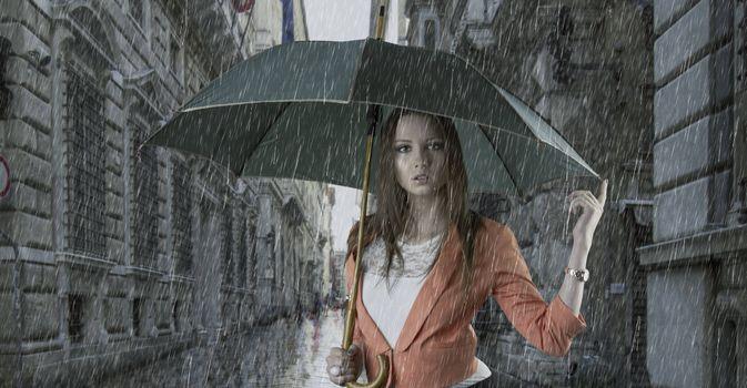 Photo free girl in the rain, rain, umbrella