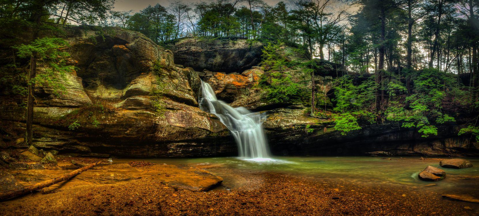 Фото бесплатно Hocking Hills State Park, ohio waterfallsЮводопад, скалы, водоём, деревья, природа, панорама, природа