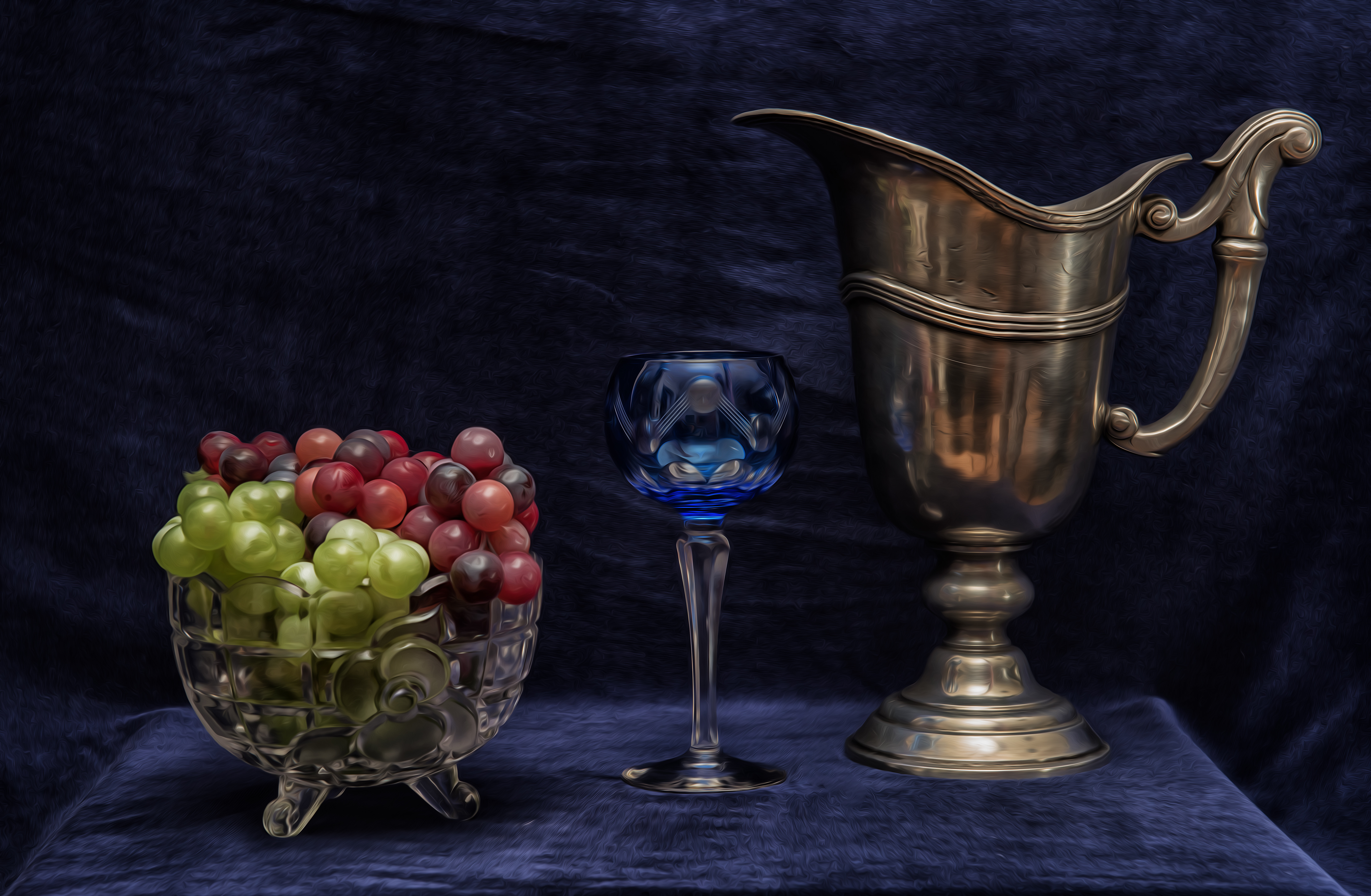 обои кувшин, бокал, виноград, натюрморт картинки фото