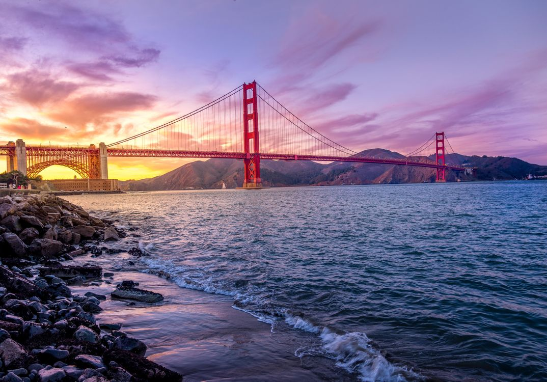 Фото бесплатно Мост Золотые Ворота, golden gate bridge, Сан Франциско, San Francisco, закат, пейзажи