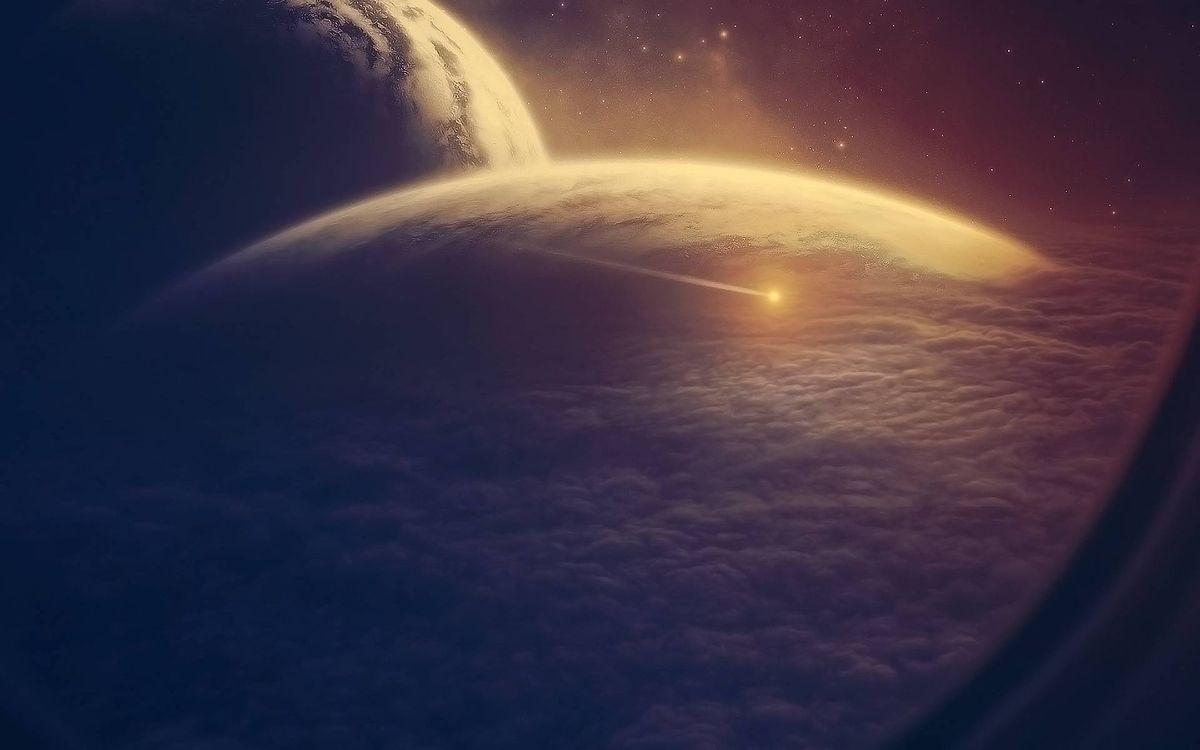 Фото бесплатно планеты, астероид, облака - на рабочий стол