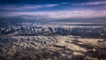 Фото бесплатно вид из самолета, горы, холмы