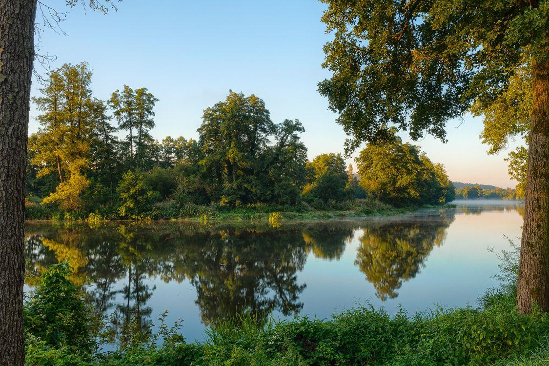 Фото бесплатно закат, водоём, река, деревья, пейзаж, пейзажи