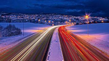 Бесплатные фото Норвегия,Тронхейм,зима,дорога,город