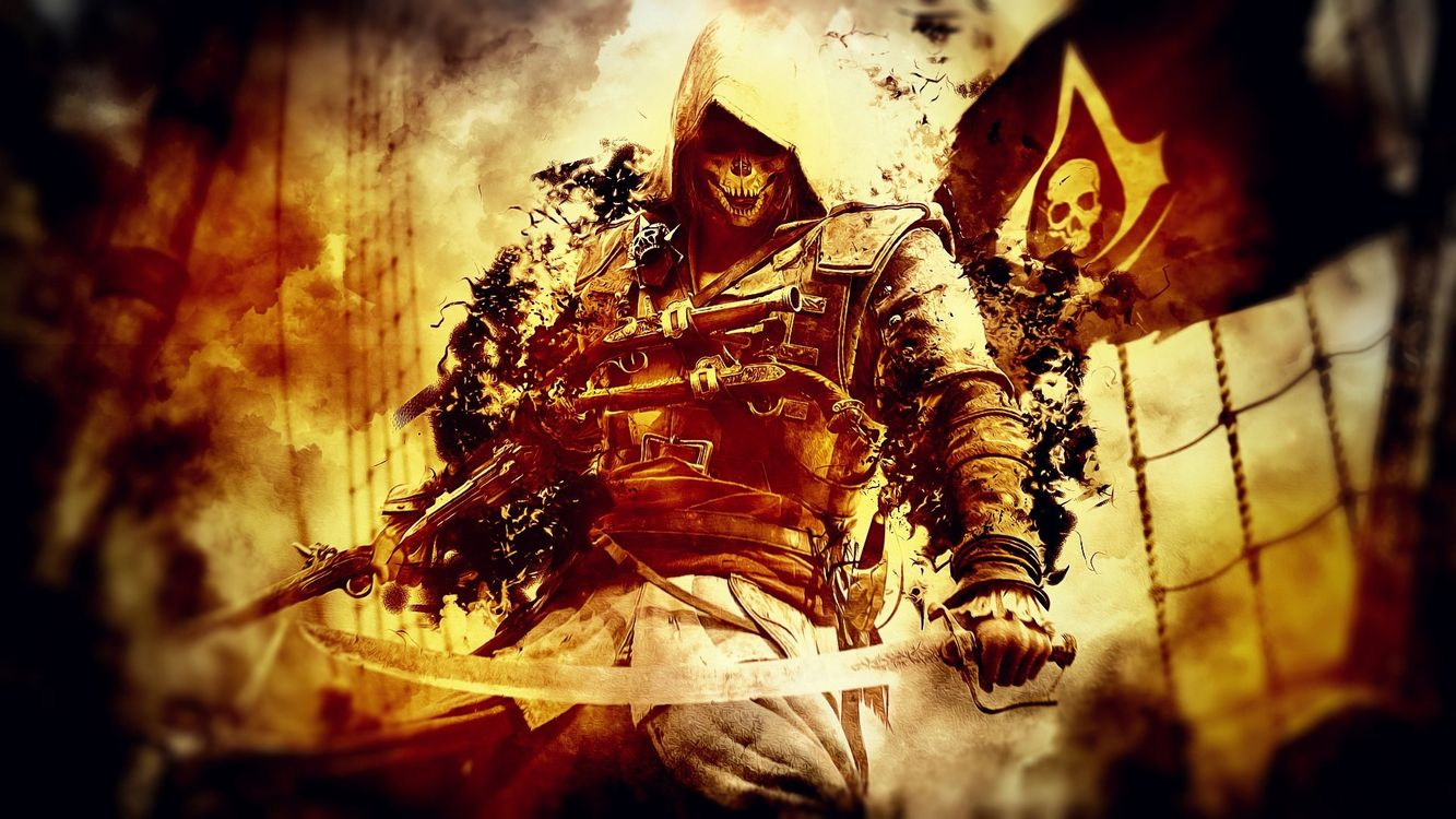 Фото бесплатно assassins creed, герой, мечи, маска, череп, пиратский флаг, корабль, огонь, игры